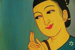 Oude vrouwenkunst van het trekken op de muur Royalty-vrije Stock Afbeelding