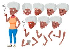 Oude Vrouwenvector zwart Afro Amerikaan Hogere persoon Oude, Bejaarde Mensen Volwassen mensen toevallig Diverse gezichtsemoties, stock illustratie