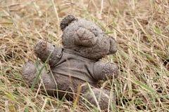 Oude vuile die teddybeer op de droge grasgrond wordt veronachtzaamd stock foto