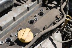 Oude vuile motor van een auto Royalty-vrije Stock Foto