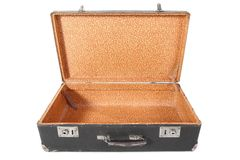 Oude vuile stoffige koffer. De koffer wordt geopend Stock Foto's