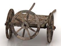 Oude wagenkar met houten wielen Stock Fotografie