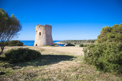 Oude watchtower in Cala Pi stock foto's