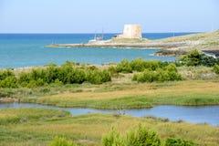 Oude watchtower dichtbij Vieste op Puglia stock foto