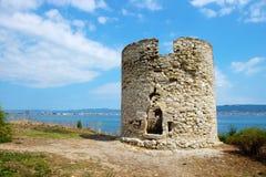 Oude watchtower in oude stad van Nessebar royalty-vrije stock foto