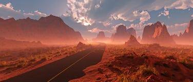 Oude weg door rood rotsachtig woestijnlandschap met bewolkte hemel en Royalty-vrije Stock Afbeeldingen