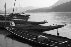 Oude wereldcharme van Mekong Rivier in Laos Stock Afbeelding