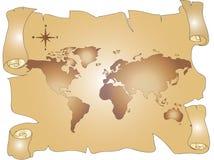 Oude wereldkaart Royalty-vrije Stock Afbeelding