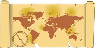 Oude, wereldkaart Stock Foto