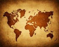 Oude wereldkaart Stock Afbeeldingen