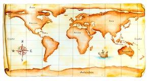 Oude wereldkaart Royalty-vrije Stock Foto's