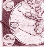 Oude wereldkaart, westelijke hemisfeer Royalty-vrije Stock Afbeelding