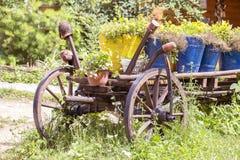 Oude wiel houten kar met bloempotten in de tuin Karpatische Bergen in de zomer ukraine royalty-vrije stock afbeeldingen