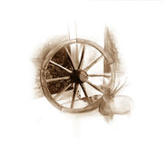 Oude wielillustratie Stock Afbeeldingen