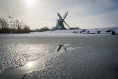 Oude Windmolen in de Winter Stock Fotografie