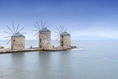 Oude windmolens van chios bij nacht Royalty-vrije Stock Foto