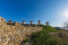 Oude windmolens van eiland Mykonos Stock Foto's
