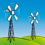 Oude windturbines (vector) Royalty-vrije Stock Foto