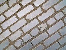 Oude witte bakstenen muurachtergrond stock afbeeldingen