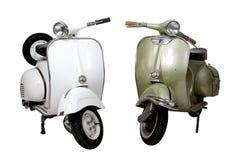 Oude witte en groene motorfiets Stock Afbeelding