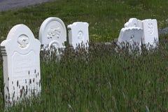 Oude witte grafzerken in grasrijke begraafplaats Stock Afbeeldingen