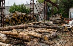 Oude zaagmolen in Colorado Pijnboomhout en gezaagd hout stock foto