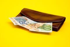 Oude zak met geld Royalty-vrije Stock Foto's