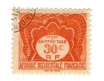 Oude zegel van Frans West-Afrika Royalty-vrije Stock Afbeeldingen