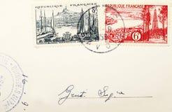 Oude zegels en postzegels Stock Fotografie