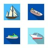 Oude zeilboot, motorboot, autoped, mariene voering Schepen en vastgestelde de inzamelingspictogrammen van het watervervoer in vla Royalty-vrije Stock Foto's