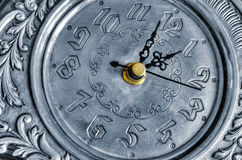 Oude zilveren klok Royalty-vrije Stock Afbeeldingen