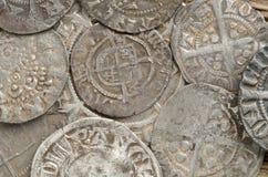 Oude zilveren muntstukken Stock Afbeelding