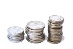 Oude zilveren muntstukken royalty-vrije stock fotografie