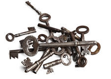Oude zilveren sleutelsinzameling stock fotografie