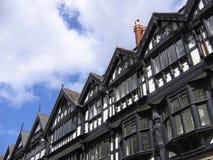 Oude Zwart-witte Gebouwen in Chester stock afbeeldingen
