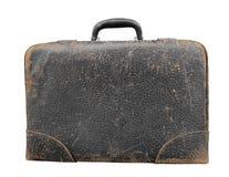 Oude zwarte geïsoleerde leerkoffer Royalty-vrije Stock Afbeelding