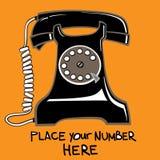 Oude zwarte telefoon stock illustratie