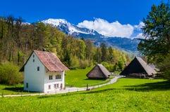 Oude Zwitserse Landbouwer Houses in het Openluchtmuseum van Ballenberg, Brienz, S Royalty-vrije Stock Afbeeldingen