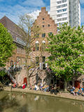 Oudegracht canal in Utrecht, Netherlands Stock Images