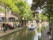 Oudegracht canal in Utrecht, Netherlands Royalty Free Stock Images