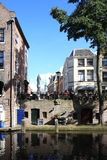 Oudegracht com cais, os Países Baixos Fotografia de Stock