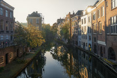Oudegracht in the old town of Utrecht. Royalty Free Stock Photos