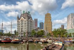 Oudehaven, Rotterdam,The Netherlands - june 2018: View of the Witte Huis - white house -with historic ships in the Old Harbor stock photos