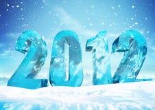 Oudejaarsavond 2012 de cijfers van het Ijs Stock Foto's