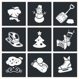 Oudejaarsavond en Kerstmis Vector Geplaatste Pictogrammen Royalty-vrije Stock Foto