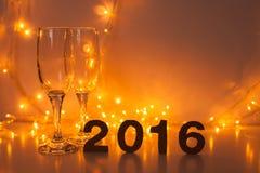Oudejaarsavond, 2016, lichten, cijfers van karton worden gemaakt dat Royalty-vrije Stock Fotografie