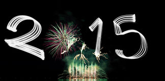 Oudejaarsavond 2015 met Vuurwerk Stock Foto