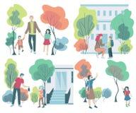 Ouder die kinderen nemen aan school Terug naar School Concept vriendschappelijke familie vector illustratie
