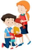 Ouder en kinderen op witte achtergrond royalty-vrije illustratie