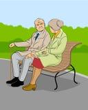 Ouder paar in het park stock illustratie